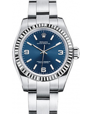 Rolex Oyster Perpetual 26 Ladies White Gold/Steel Blue Arabic / Index Dial Fluted Bezel & Oyster Bracelet 176234 - BRAND NEW