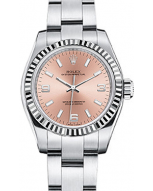 Rolex Oyster Perpetual 26 Ladies White Gold/Steel Pink Arabic / Index Dial Fluted Bezel & Oyster Bracelet 176234 - BRAND NEW