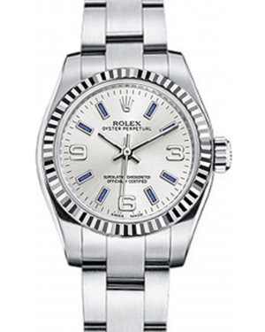 Rolex Oyster Perpetual 26 Ladies White Gold/Steel Silver Arabic / Blue Index Dial Fluted Bezel & Oyster Bracelet 176234 - BRAND NEW
