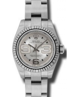 Rolex Lady-Datejust 26 176234-SLVMFO Silver MaxI Arabic Fluted White Gold Brushed Stainless Steel Oyster - BRAND NEW