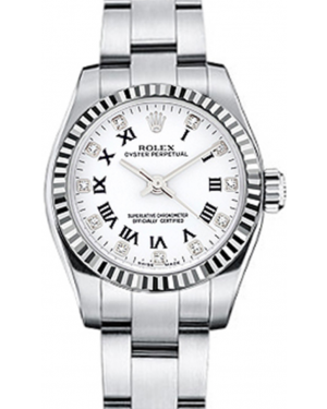 Rolex Oyster Perpetual 26 Ladies White Gold/Steel White Roman / Diamond Dial Fluted Bezel & Oyster Bracelet 176234 - BRAND NEW