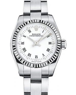 Rolex Oyster Perpetual 26 Ladies White Gold/Steel White Roman Dial Fluted Bezel & Oyster Bracelet 176234 - BRAND NEW