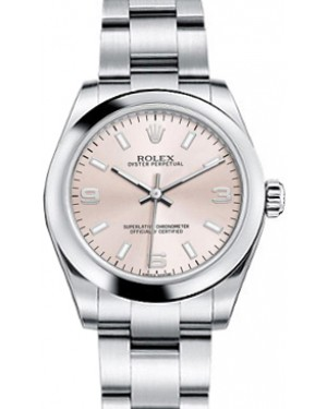 Rolex Oyster Perpetual 31 Ladies Midsize Stainless Steel Pink Arabic / Index Dial Smooth Bezel & Oyster Bracelet 177200 - BRAND NEW