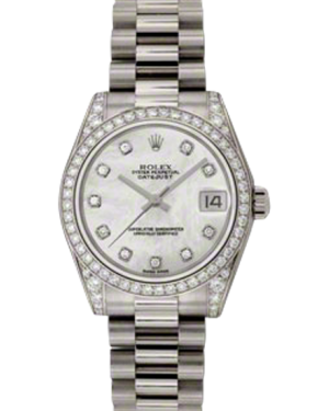 Rolex Datejust Ladies Midsize 178159-MOPDDP White Mother Of Pearl Diamond Dial White Gold President 31mm - BRAND NEW