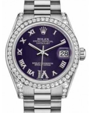 Rolex Datejust 31 178159 Purple Roman Diamond VI Diamond Set White Gold President 31mm Automatic - BRAND NEW