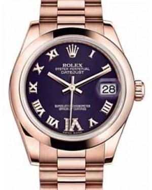 Rolex Datejust 31 178245 Purple Roman Diamond VI Domed Rose Gold President 31mm Automatic - BRAND NEW