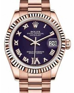Rolex Datejust 31 178275 Purple Roman Diamond VI Fluted Rose Gold President 31mm Automatic - BRAND NEW