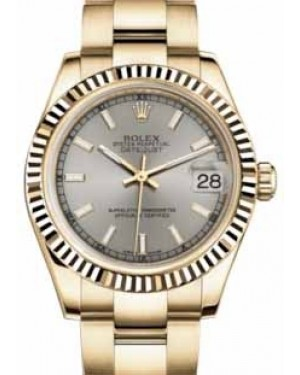 Rolex Datejust 31 178278 Silver Index Fluted Yellow Gold Oyster 31mm Automatic - BRAND NEW