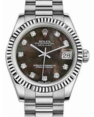 Rolex Datejust 31 178279 Black Mother of Pearl Diamond Fluted White Gold President 31mm Automatic - BRAND NEW