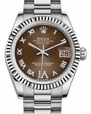 Rolex Datejust 31 178279 Bronze Roman Diamond VI Fluted White Gold President 31mm Automatic - BRAND NEW