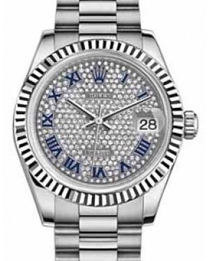 Rolex Datejust 31 178279 Diamond Paved Roman Fluted White Gold President 31mm Automatic - BRAND NEW