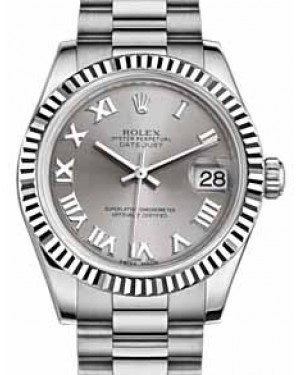 Rolex Datejust 31 178279 Rhodium Roman Fluted White Gold President 31mm Automatic - BRAND NEW