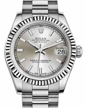 Rolex Datejust 31 178279 Silver Index Fluted White Gold President 31mm Automatic - BRAND NEW