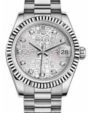 Rolex Datejust 31 178279 Silver Jubilee Diamond Fluted White Gold President 31mm Automatic - BRAND NEW