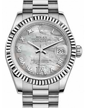 Rolex Datejust 31 178279 White Mother of Pearl Roman Diamond VI Fluted White Gold President 31mm Automatic - BRAND NEW