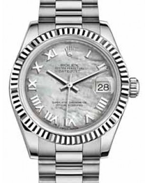 Rolex Datejust 31 178279 White Mother of Pearl Roman Fluted White Gold President 31mm Automatic - BRAND NEW