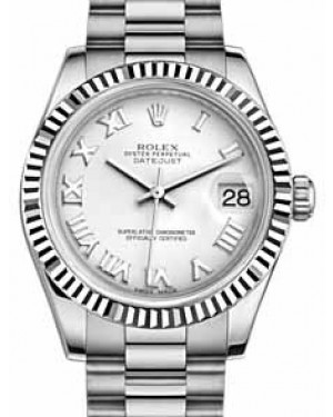 Rolex Datejust 31 178279 White Roman Fluted White Gold President 31mm Automatic - BRAND NEW