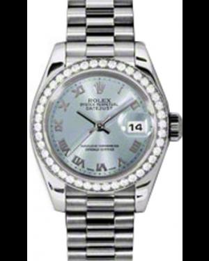 Rolex Lady-Datejust 26 179136-IBLURP Ice Blue Roman Diamond Bezel Platinum President - BRAND NEW