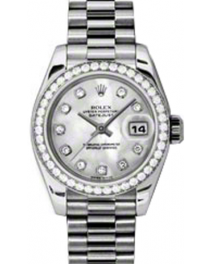 Rolex Lady-Datejust 26 179136-MOPDP White Mother of Pearl Diamond Dial Diamond Bezel Platinum President - BRAND NEW