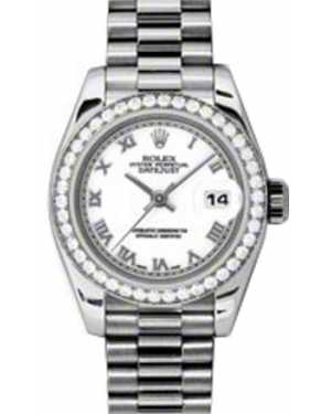 Rolex Lady-Datejust 26 179136-WHTRP White Roman Diamond Bezel Platinum President - BRAND NEW