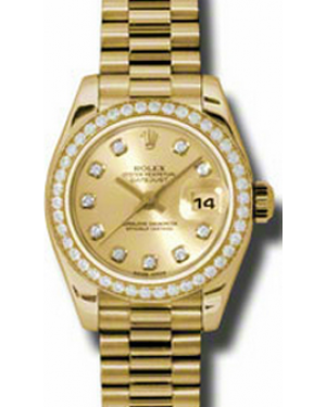 Rolex Lady-Datejust 26 179138-CHPDDP Champagne Diamond Dial Diamond Bezel Yellow Gold President - BRAND NEW