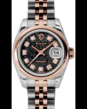 Rolex Lady-Datejust 26 179161-BLKJDJ Black Diamond Rose Gold Stainless Steel Jubilee - BRAND NEW