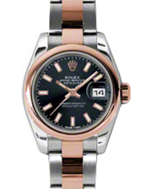 Rolex Lady-Datejust 26 179161-BLKSO Black Index Rose Gold Stainless Steel Oyster - BRAND NEW