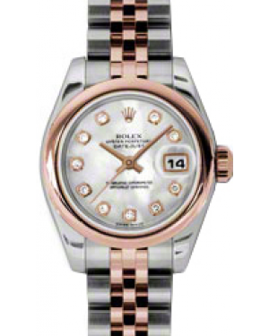 Rolex Lady-Datejust 26 179161-MOPDJ White Mother of Pearl Diamond Rose Gold Stainless Steel Jubilee - BRAND NEW