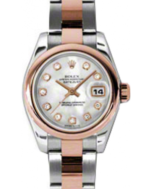 Rolex Lady-Datejust 26 179161-MOPDO White Mother of Pearl Diamond Rose Gold Stainless Steel Oyster - BRAND NEW