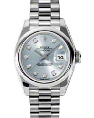 Rolex Lady-Datejust 26 179166-BLUDP Ice Blue Diamond Platinum President - BRAND NEW