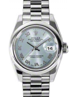 Rolex Lady-Datejust 26 179166-BLURP Ice Blue Roman Platinum President - BRAND NEW