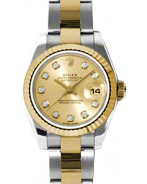 Rolex Lady-Datejust 26 179173-CHPDO Champagne Diamond Fluted Yellow Gold Stainless Steel Oyster - BRAND NEW