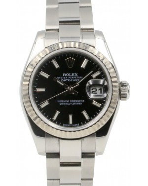 Rolex Datejust 179174 26mm Ladies Small Black Index Oyster Stainless Steel Fluted 18k White Gold