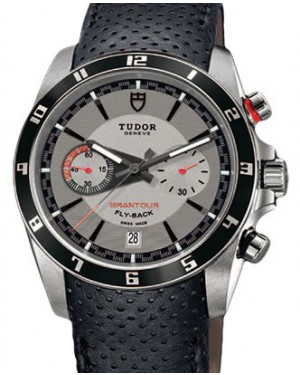 Tudor Grantour Chronograph Fly-Back 20550N Silver Index Stainless Steel & Leather 42mm BRAND NEW