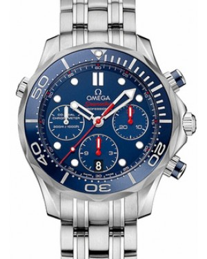 Omega 212.30.44.50.03.001 Seamaster Diver 300M Co-Axial Chronograph 44mm Blue Index Stainless Steel - BRAND NEW