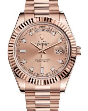 Rolex Day-Date II President 218235 Diamond 18k Rose Everose Pink Gold BRAND NEW