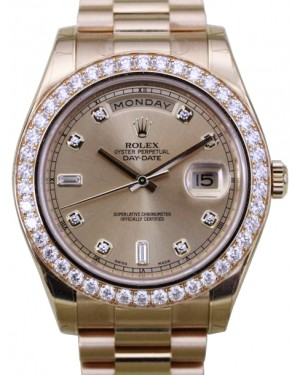 Rolex Day-Date II Yellow Gold Champagne Diamond 41mm Dial & Fluted Bezel President Bracelet 218348 - BRAND NEW