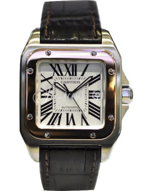 CARTIER W20107X7 SANTOS 100 PINK GOLD AND STEEL BRAND NEW
