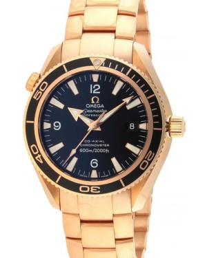 Omega 222.60.42.20.01.001 Planet Ocean 600M Co-Axial 42mm Black Arabic Rose Gold BRAND NEW