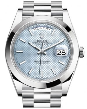 Rolex Day-Date 40 Platinum Ice Blue Diagonal Motif Dial & Smooth Bezel President Bracelet 228206 - BRAND NEW