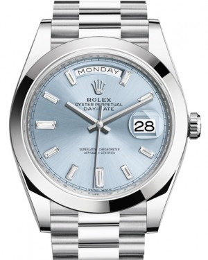 Rolex Day-Date 40 Platinum Ice Blue Diamond Dial & Smooth Bezel President Bracelet 228206 - BRAND NEW