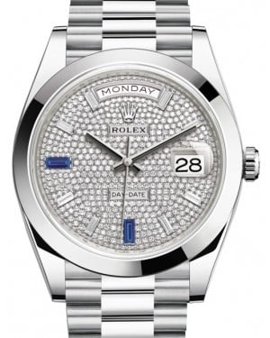 Rolex Day-Date 40 Platinum Diamond Pave Dial with Sapphires & Smooth Bezel President Bracelet 228206 - BRAND NEW