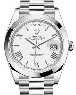 Rolex Day-Date 40 Platinum White Roman Dial & Smooth Bezel President Bracelet 228206 - BRAND NEW