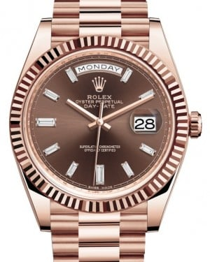 Rolex Day-Date 40 Rose Gold Chocolate Diamond Dial & Fluted Bezel President Bracelet 228235 - BRAND NEW