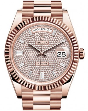Rolex Day-Date 40 Rose Gold Diamond Pave Dial & Fluted Bezel President Bracelet 228235 - BRAND NEW