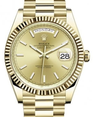 Rolex Day-Date 40 Yellow Gold Champagne Index Dial & Fluted Bezel President Bracelet 228238 - BRAND NEW