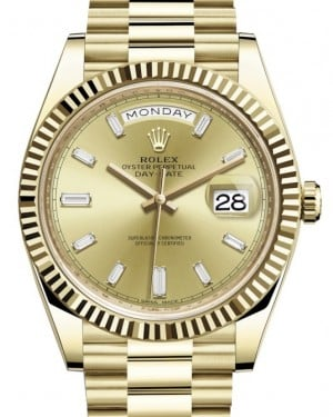 Rolex Day-Date 40 Yellow Gold Champagne Diamond Dial & Fluted Bezel President Bracelet 228238 - BRAND NEW