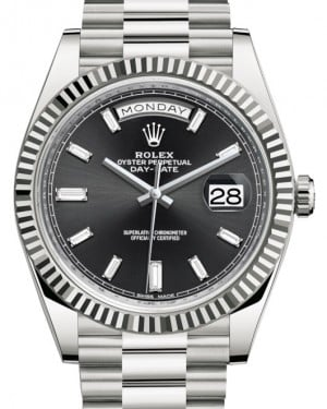 Rolex Day-Date 40 White Gold Black Diamond Dial & Fluted Bezel President Bracelet 228239 - BRAND NEW