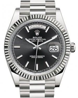 Rolex Day-Date 40 White Gold Black Index Dial & Fluted Bezel President Bracelet 228239 - BRAND NEW