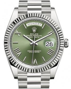 Rolex Day-Date 40 White Gold Olive Green Roman Dial & Fluted Bezel President Bracelet 228239 - BRAND NEW